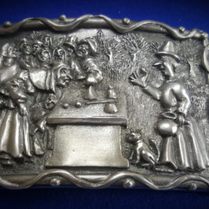 fine English pewter cups and balls belt buckle