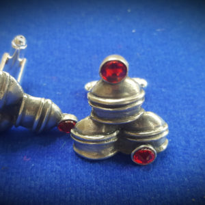 cups and balls pewter and swarovski cufflinks